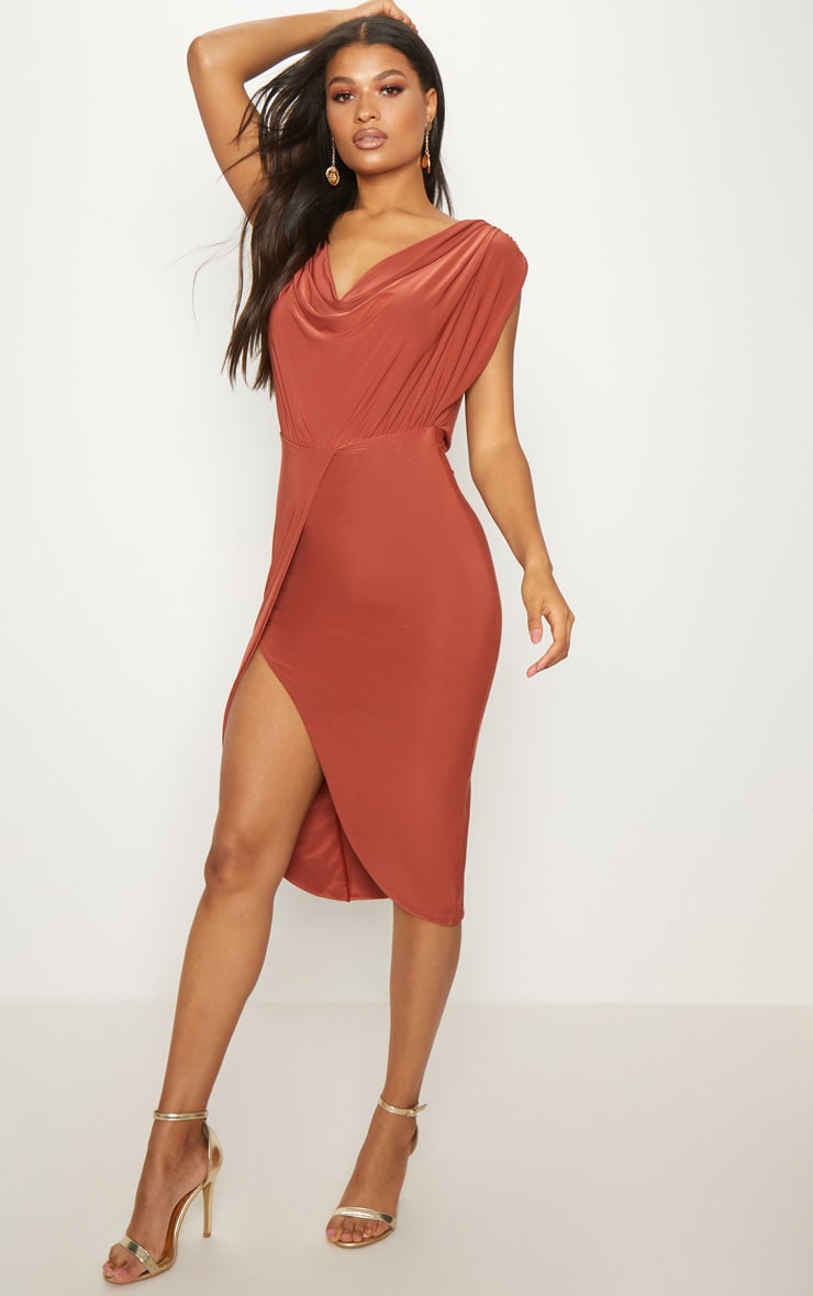 Rust Double Layer Slinky Cowl Neck Wrap Midi Dress 1