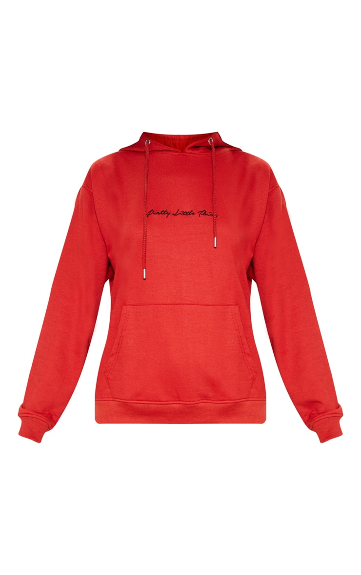 PRETTYLITTLETHING Red Embroidered Oversized Hoodie 3