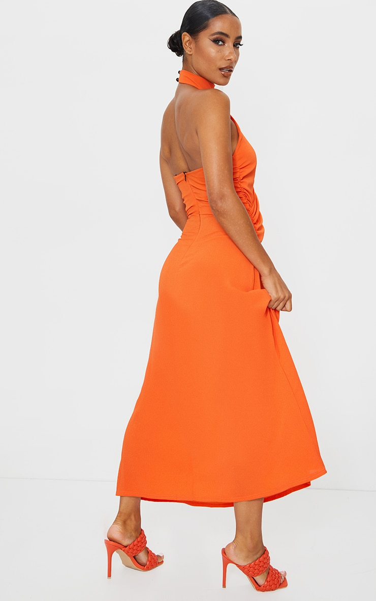 Tangerine Halterneck Wrap Front Maxi Dress 2