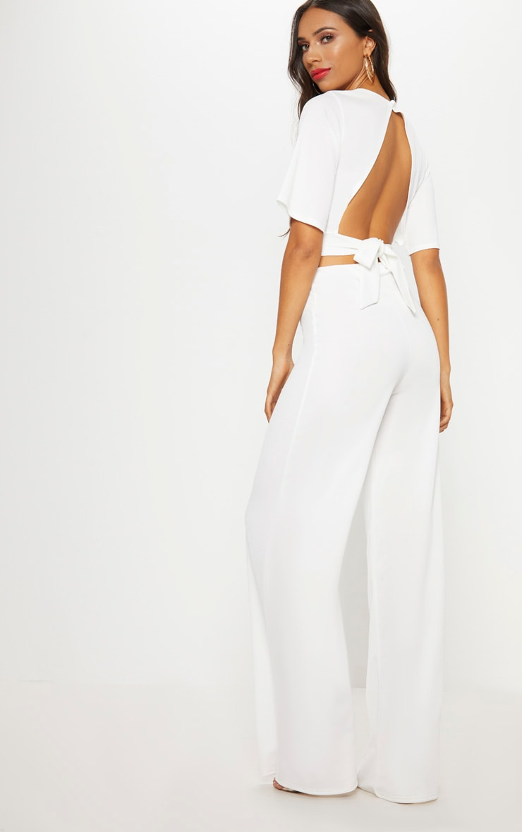 White Crepe Tie Back Crop Top 2
