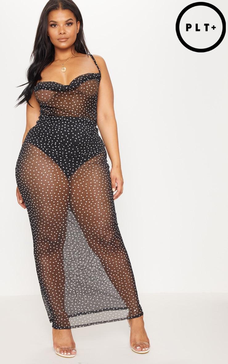 Plus Black Mesh Polka Dot Maxi Dress 1