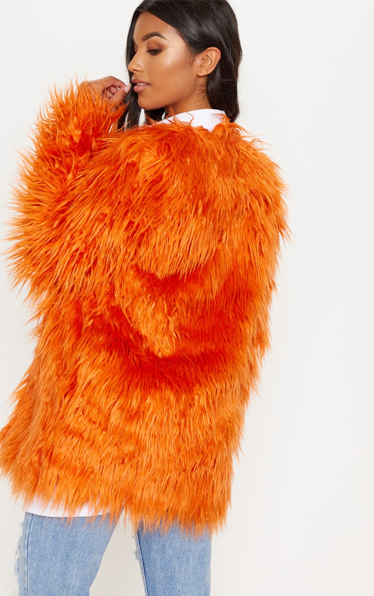 Rust Midi Shaggy Faux Fur 2