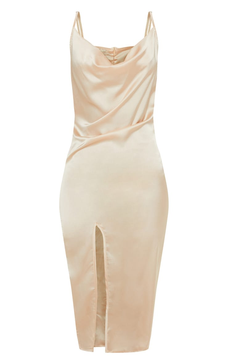 Champagne Strappy Satin Cowl Midi Dress 3
