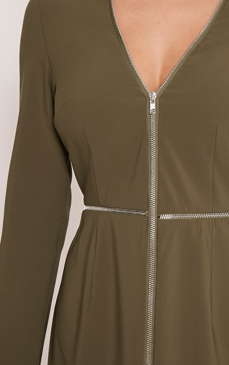 Charlene Khaki Zip Detail Bodycon Dress 6