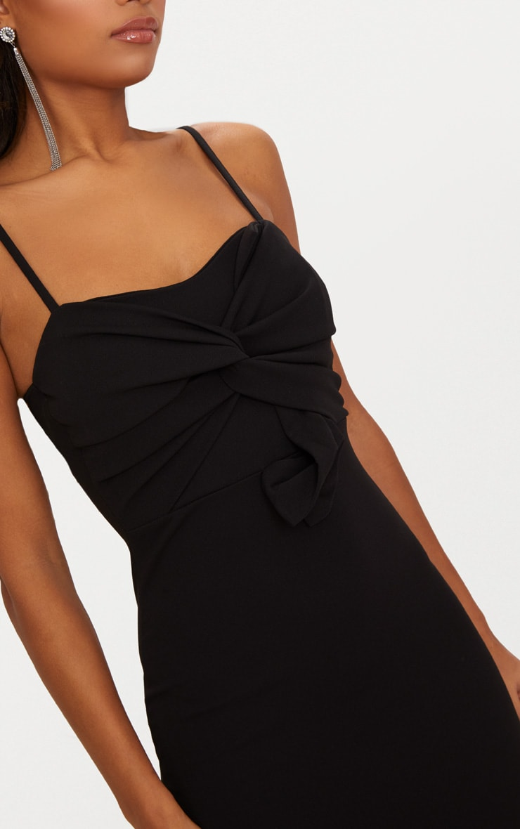 Black Strappy Bow Detail Midi Dress 5
