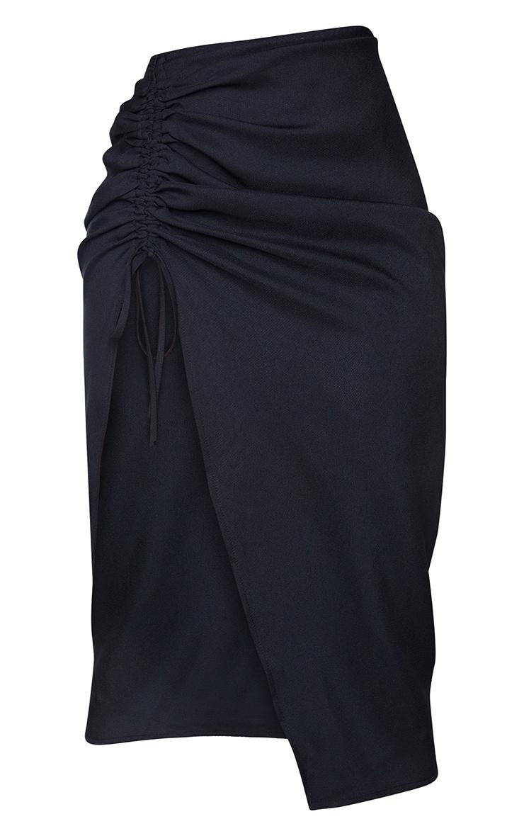 Black Woven Ruched Detail Midi Skirt 5