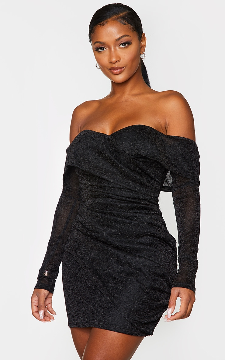Shape Black Ruched Off The Shoulder Bodycon Dress 1
