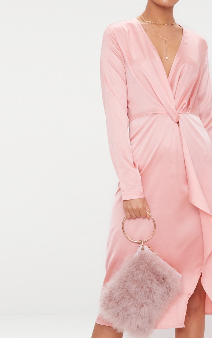 Blush Satin Long Sleeve Wrap Midi Dress 5