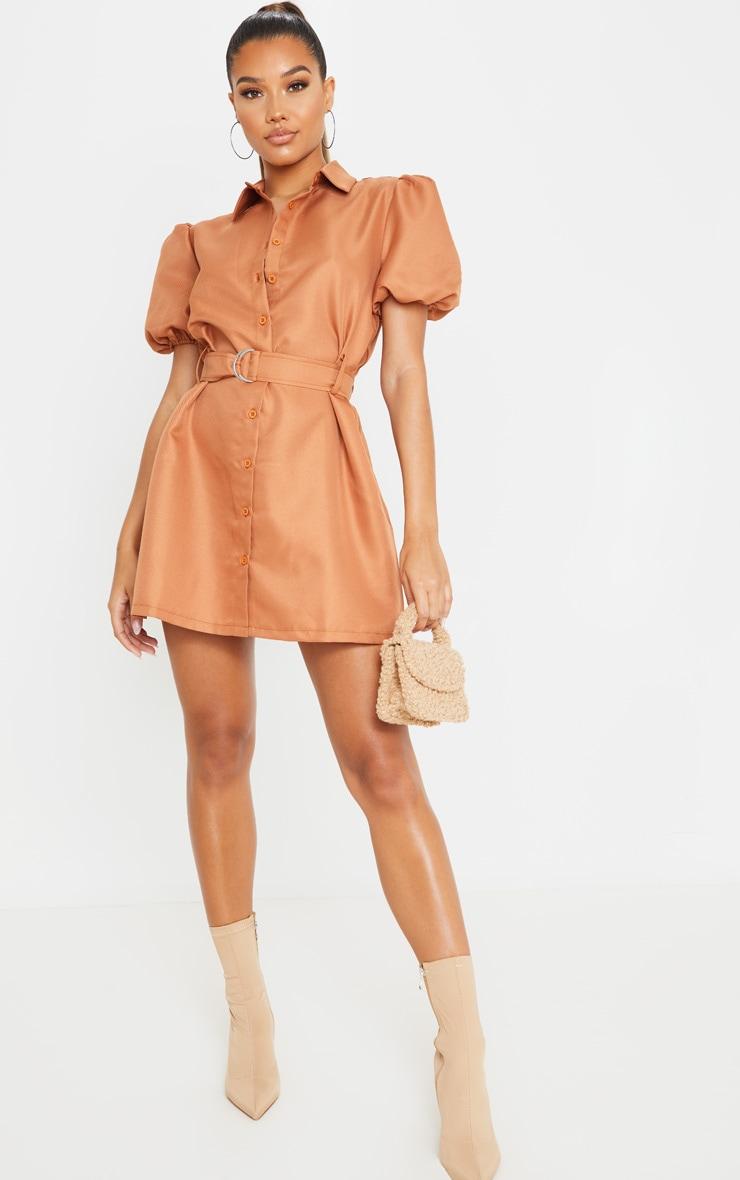 Terracotta Puff Sleeve Belted Shirt Dress 1