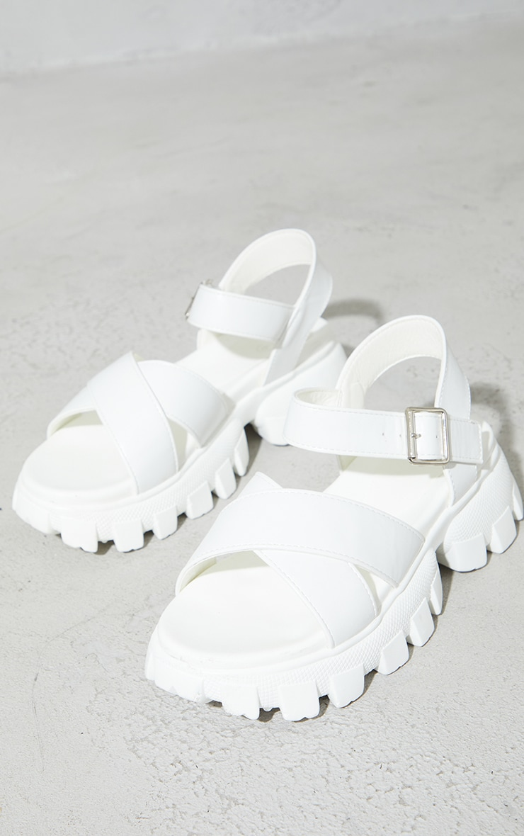 White Pu Extreme Cleated Sole Cross Strap Sports Sandals 3