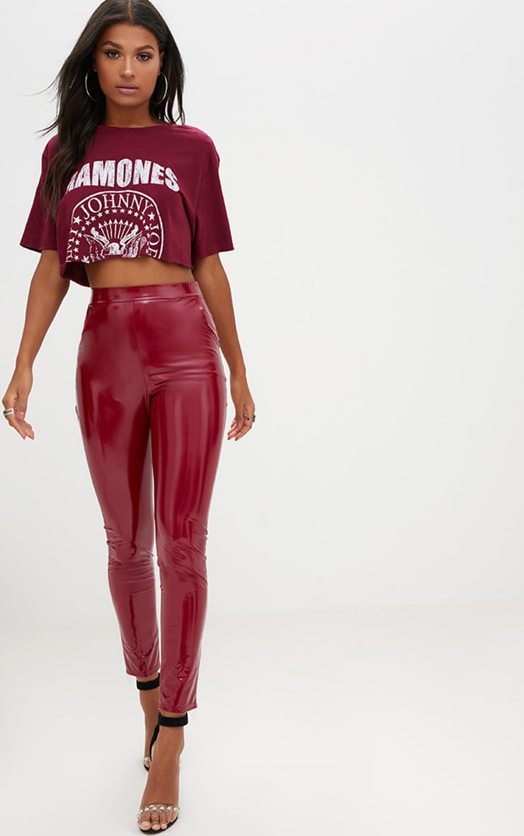 Burgundy Vinyl Leggings 1