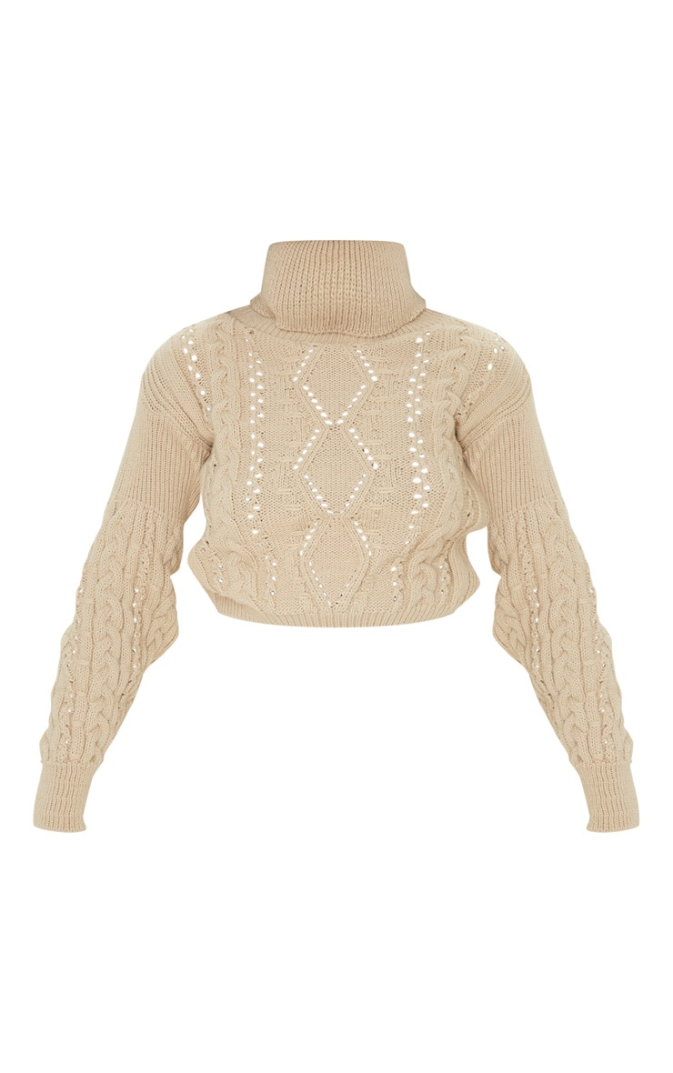 Stone Cropped Cable Knitted Jumper  3