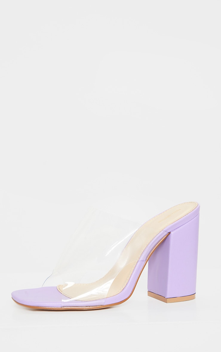 Lilac Square Toe Block Heel Clear Mules 3
