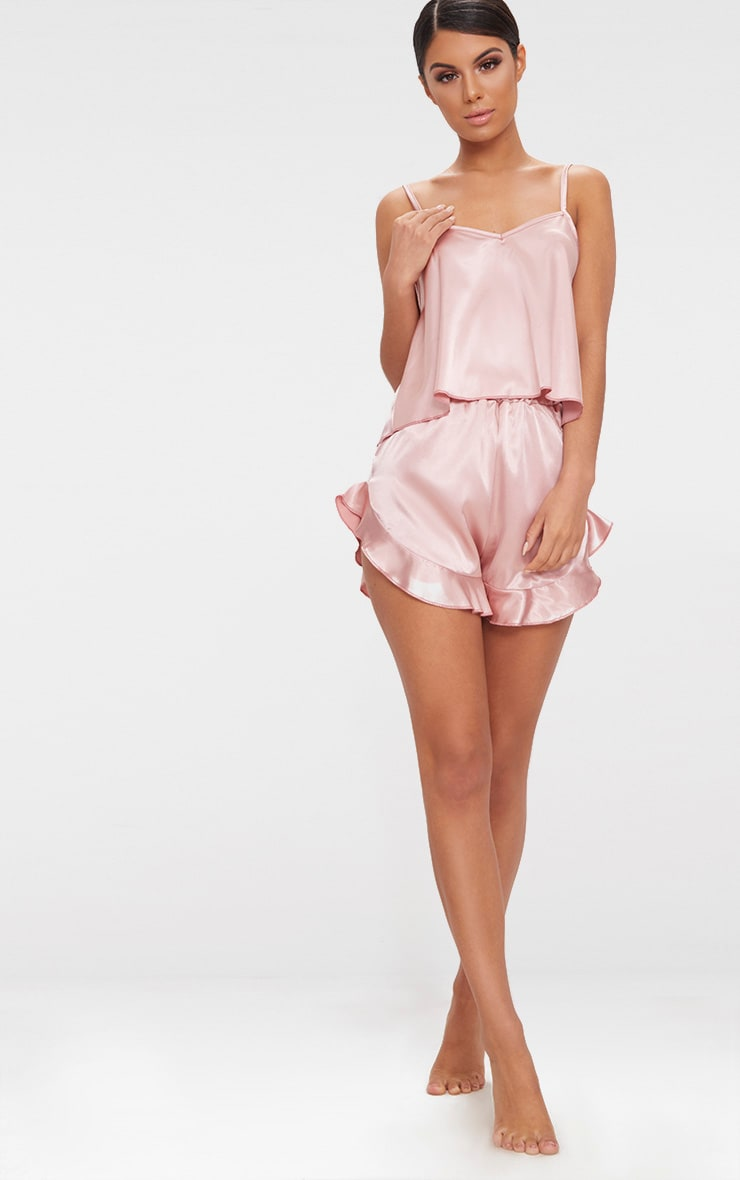 Dusty Pink Strappy Frill Detail Satin PJ Set  4