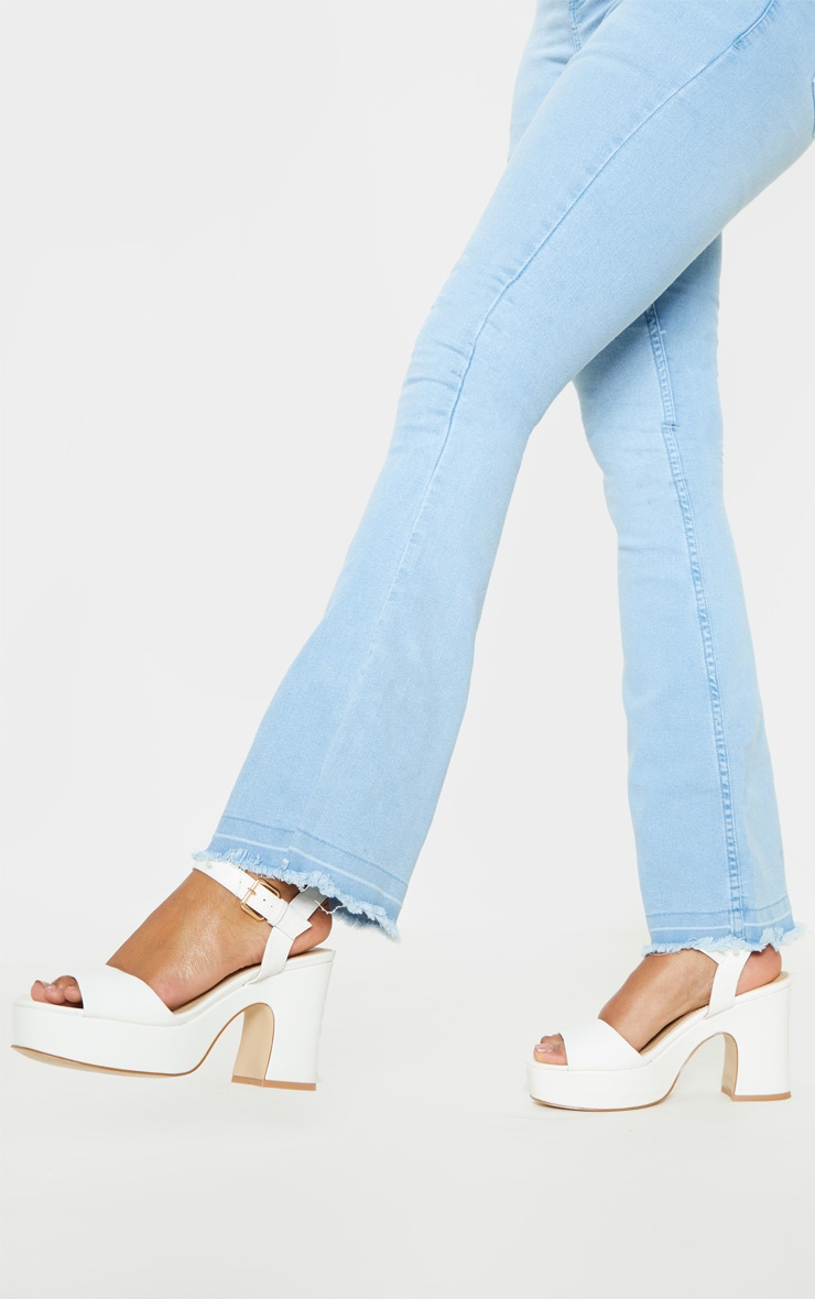 White 70's Platform Chunky Sandal 2