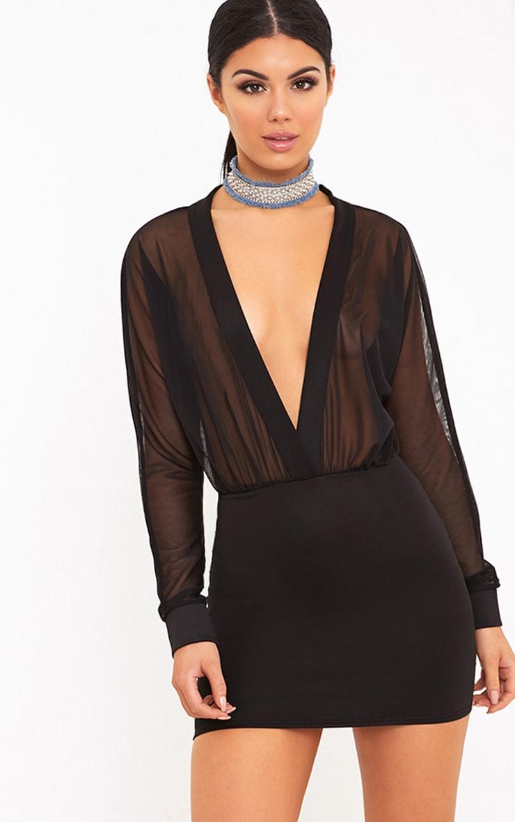 Trudy Black Mesh Plunge Bodycon Dress 1