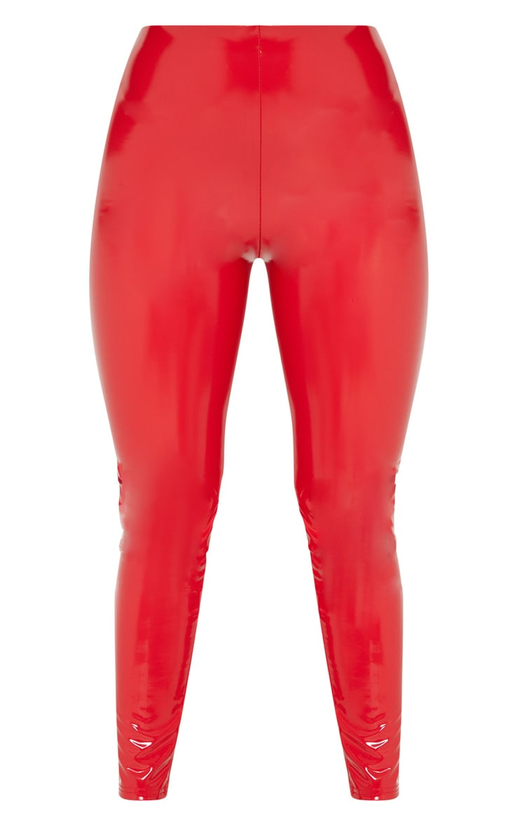 Red Highwaisted Vinyl Legging 3