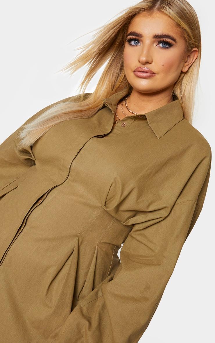 PLT Plus - Robe chemise kaki à détail plissé et manches ballon 4