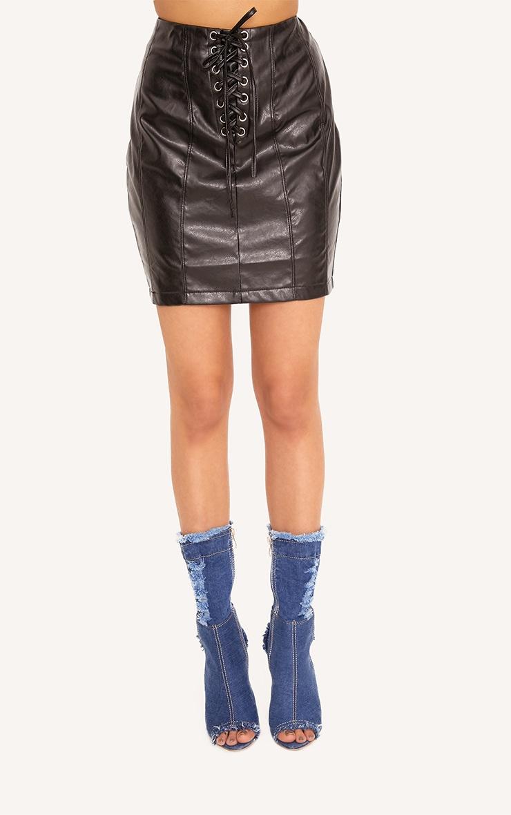 Seanna Black Faux Leather Lace Up Mini Skirt  2