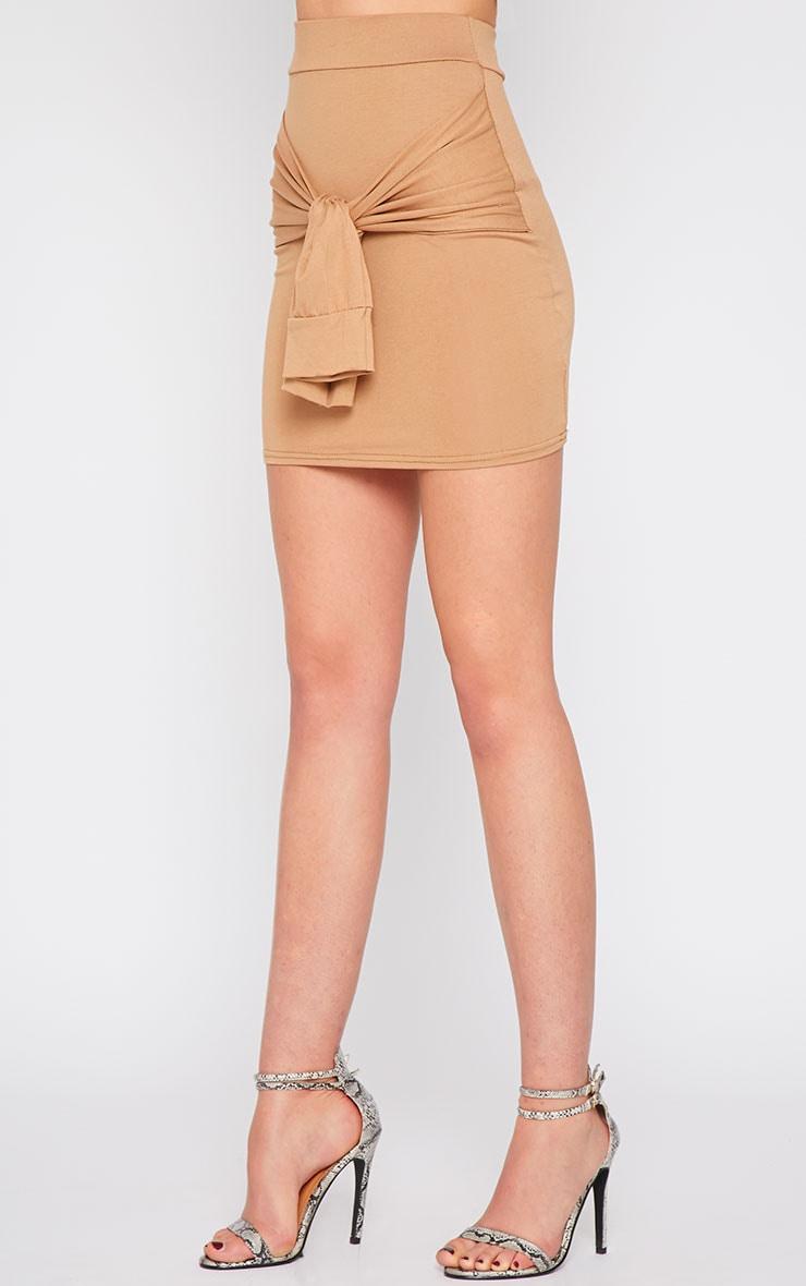 Hanneli Camel Tie Front Mini Skirt 3