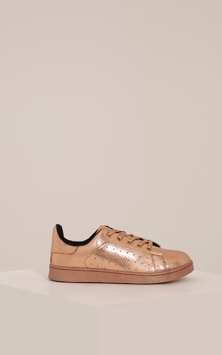 Sarbi Rose Gold Metallic Casual Lace Up Trainer 3