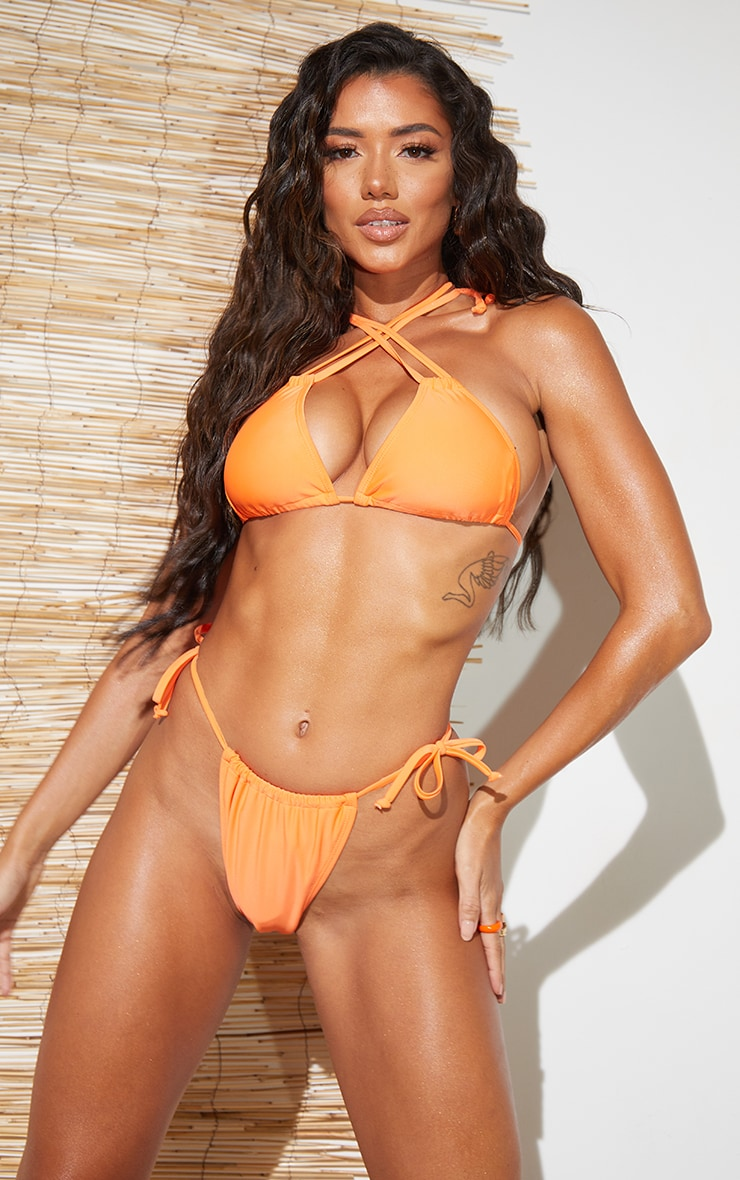 Recycled Orange Mix & Match Halterneck Mini Ruched Triangle Bikini Top 1