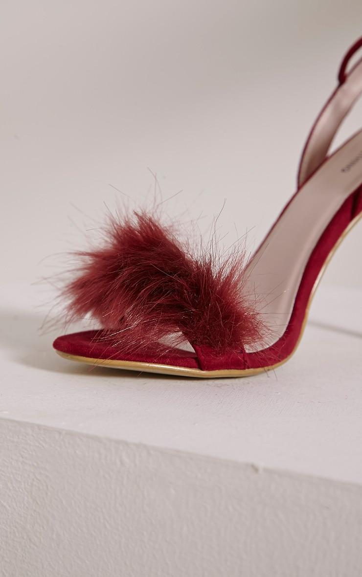 Missie Burgundy Fluffy Tie Sandals 6