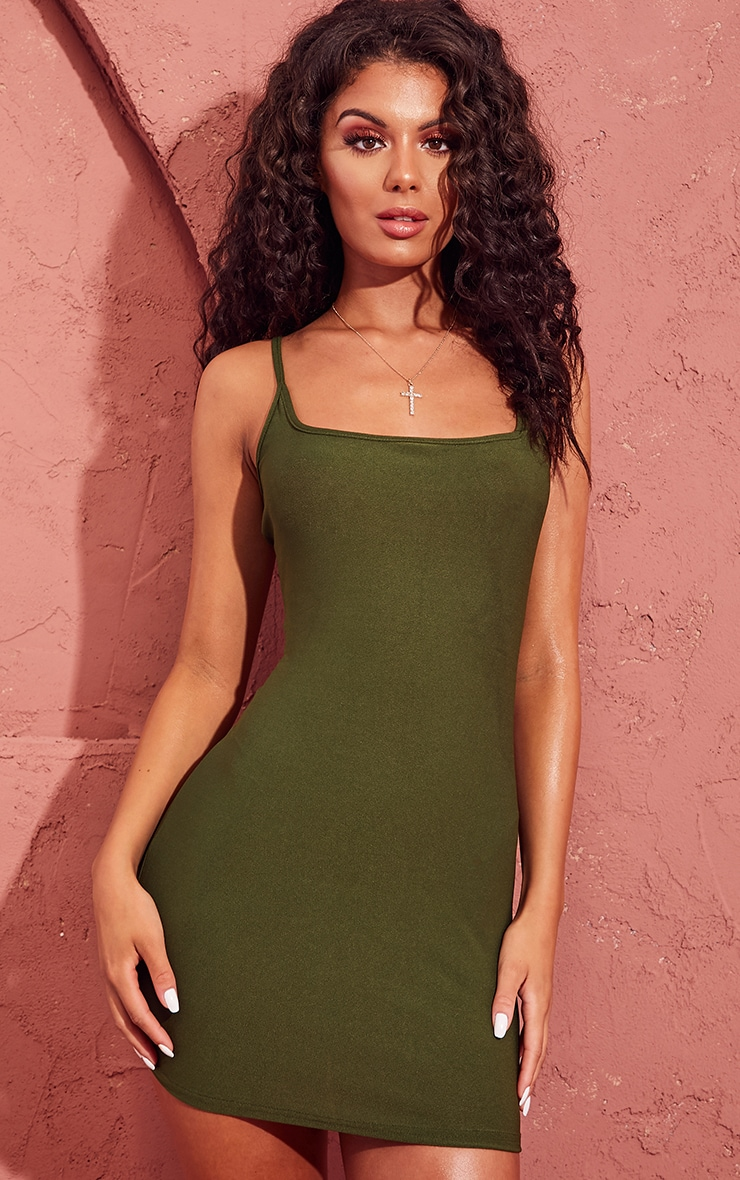 Khaki Crepe Square Neck Strappy Bodycon Dress 1