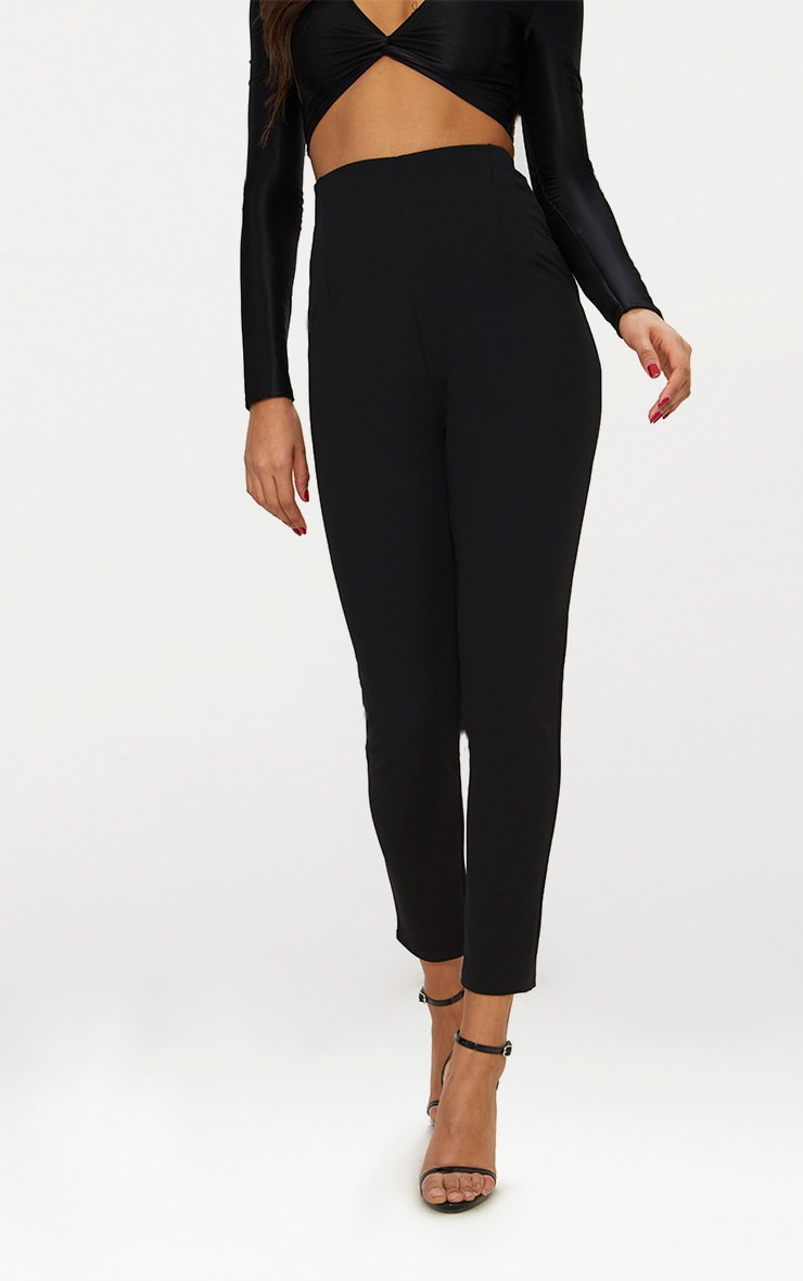 Black High Waisted Pleat Front Detail Pants 2
