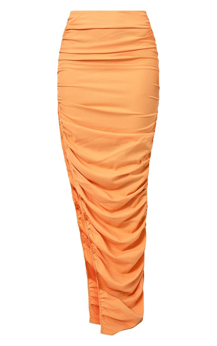 Orange Woven Ruched Side Detail Split Leg Midaxi Skirt 5
