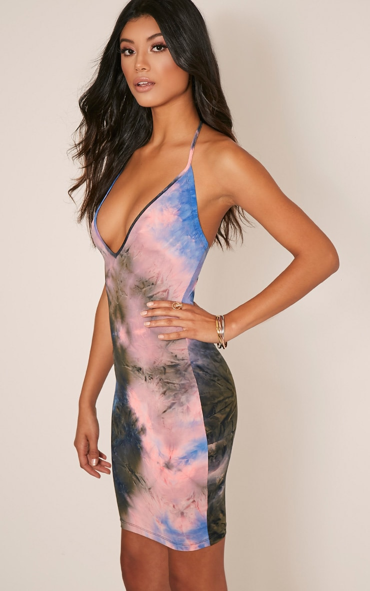 Margot Blue Plunge Tie Dye Bodycon Dress 4