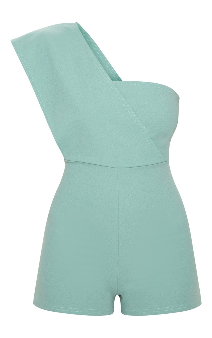 Mint Drape One Shoulder Romper 3