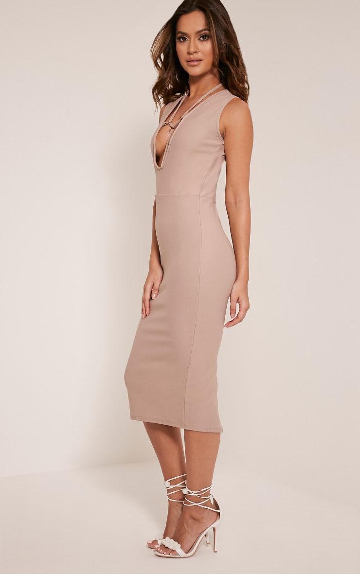 Marny Taupe Harness Detail Midi Dress 6