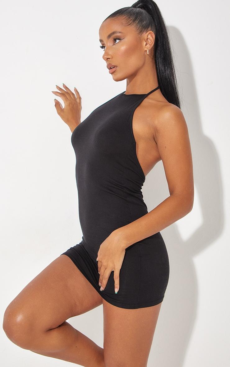 Robe moulante basique noire à dos nu 1