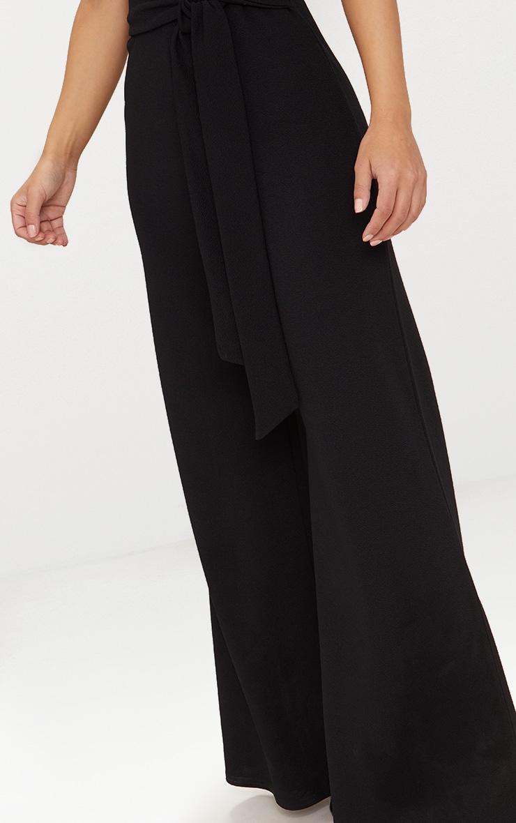 Petite Black Tie Waist Wide Leg Jumpsuit 5