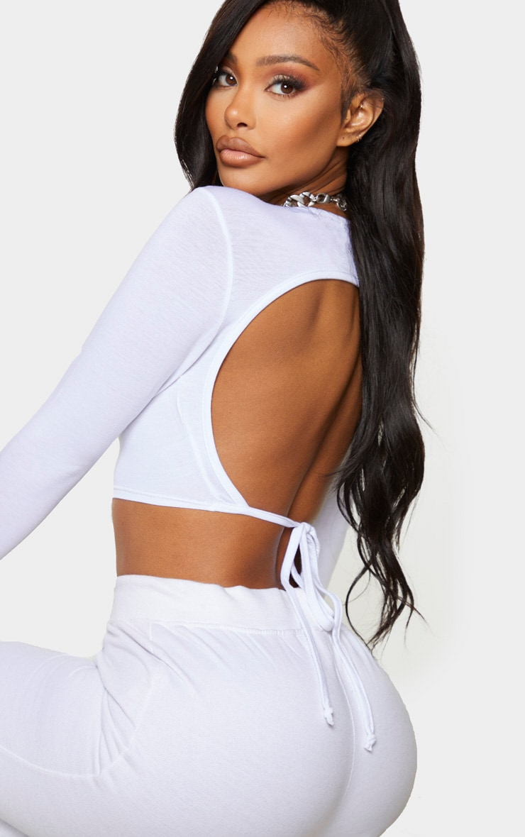 Shape White Jersey Tie Back Crop Top 4
