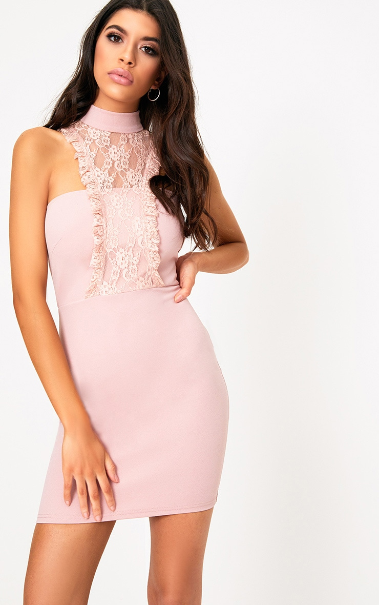 Jessalyn Dusty Pink Lace Overlay High Neck Bodycon Dress 1