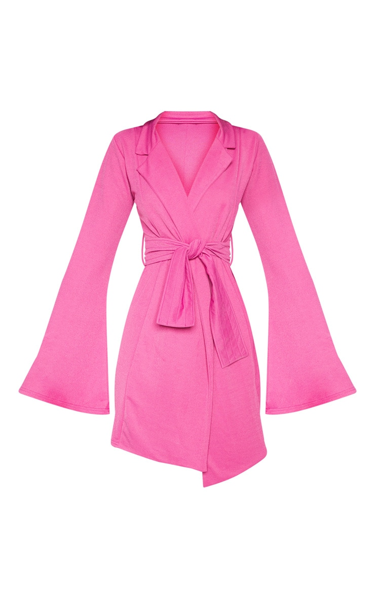 Fuchsia Pleated Belt Blazer Dress 3