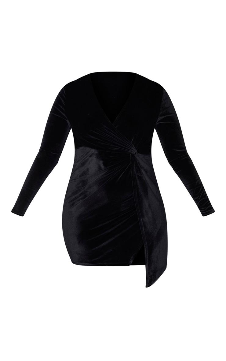 Plus Black Velvet Twist Front Dress 3