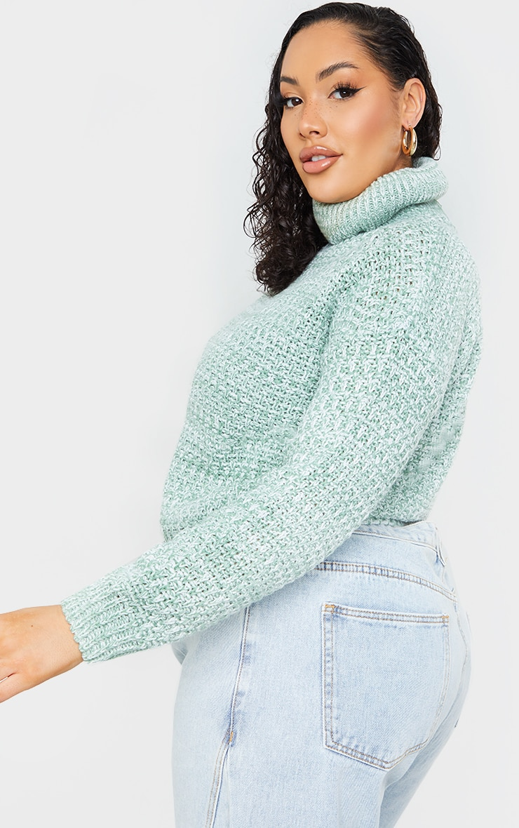 Plus Sage Green Fisherman Knit Roll Neck Sweater 2
