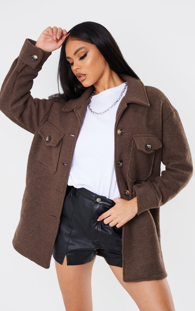 Chocolate Brushed Tortoise Shell Button Down Shacket image 1