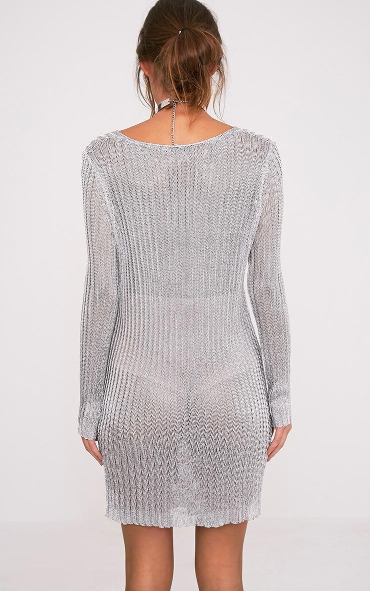 Abionae Metallic Silver Knit V Neck Jumper Dress 2