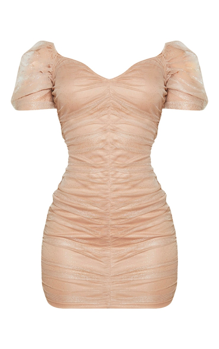 Nude Glitter Mesh Ruched Bodycon Dress 3