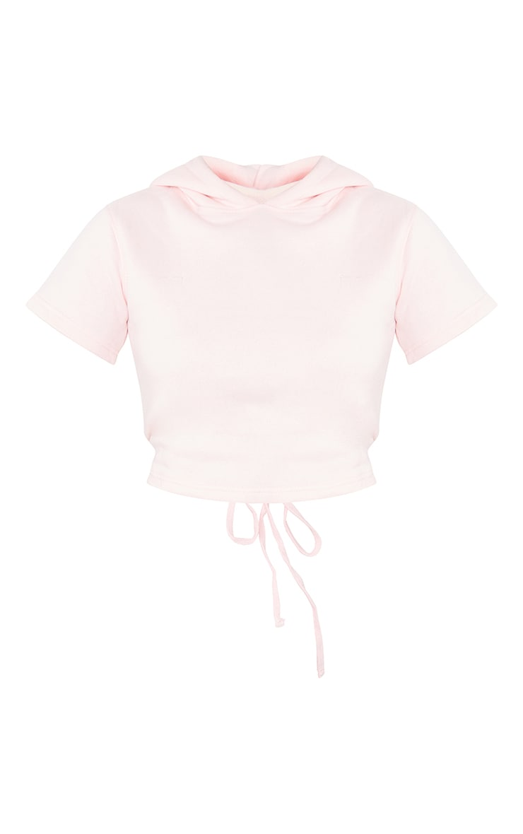 Pink Lace Up Back Crop Short Sleeve Hoodie 5