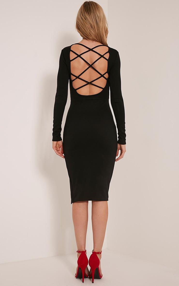 Aneelia Black Cross Back Long Sleeve Midi Dress 3