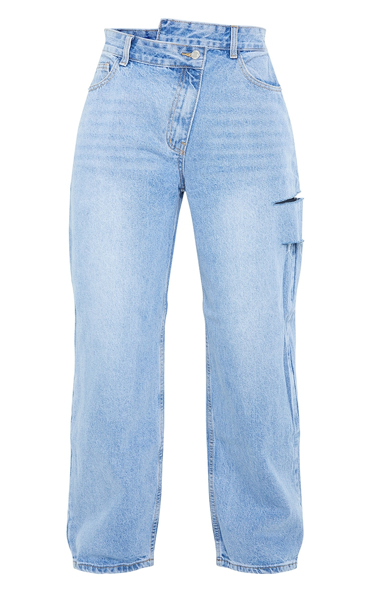 Light Blue Wash Baggy Low Rise Asymmetric Waistband Thigh Split Boyfriend Jean 5