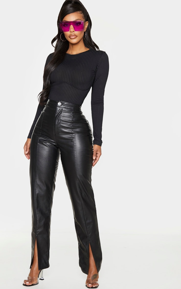 Shape Black Ribbed Underbust Detail Bodysuit 3