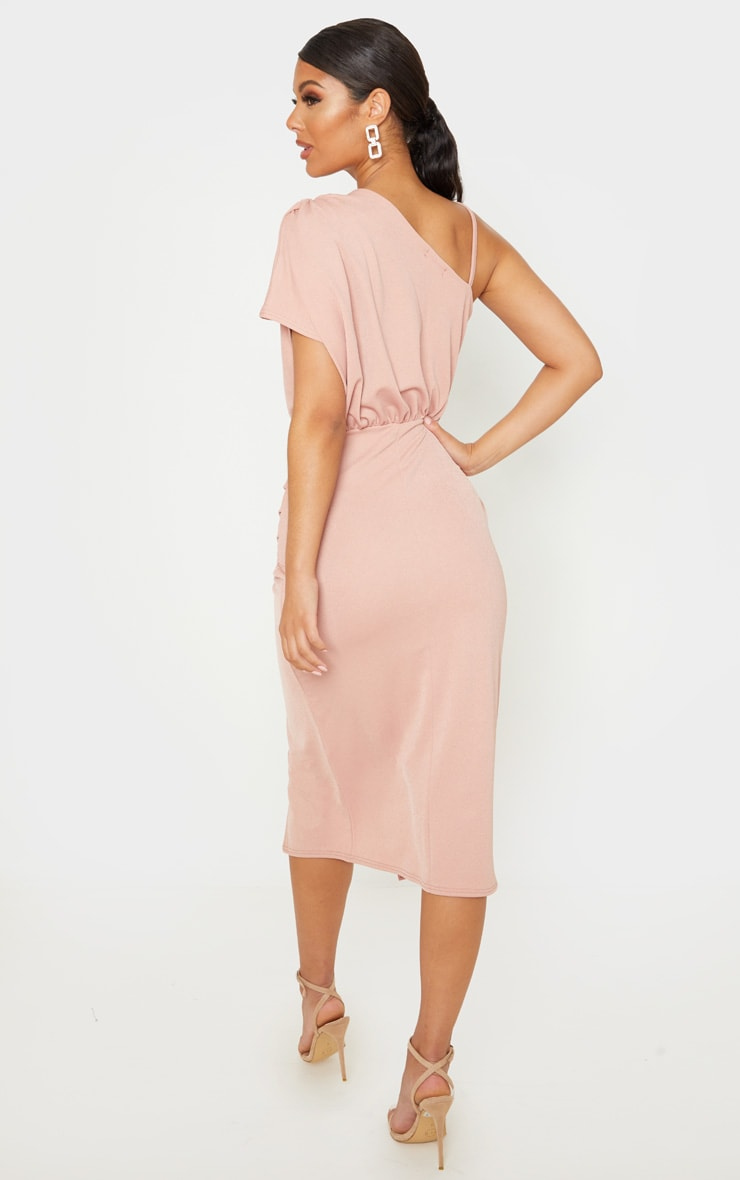 Dusty Pink Drape Detail One Shoulder Midi Dress 2