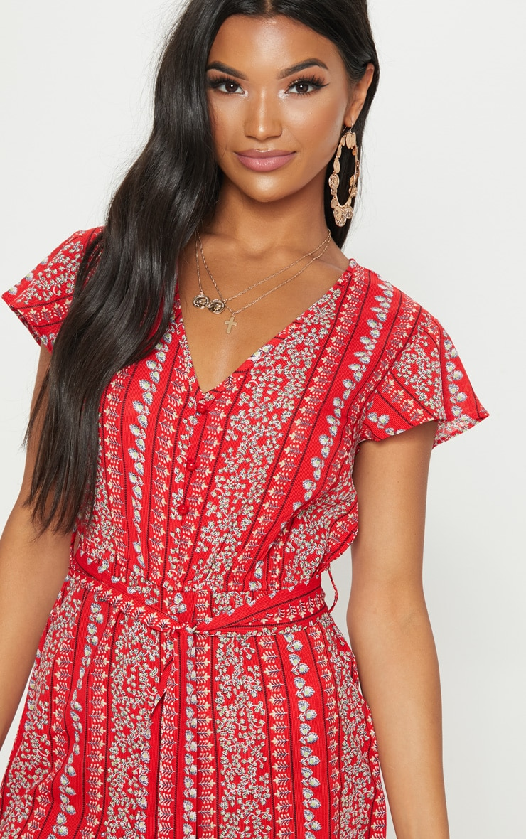 Red Printed Short Sleeve Button Through Playsuit 5
