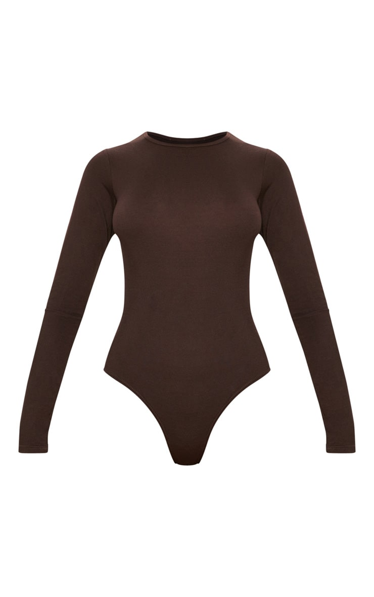Basic Chocolate Crew Neck Long Sleeve Bodysuit 3